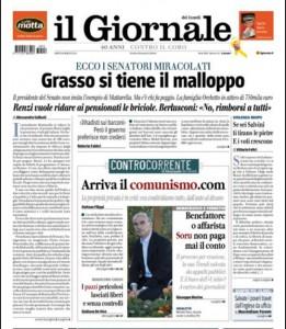 """Il Giornale: """"Mattarella si taglia stipendio, Grasso si tiene il malloppo"""""""