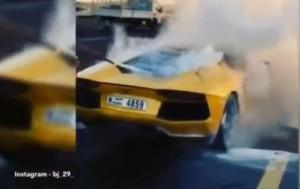 Lamborghini Aventador da 340mila euro prende fuoco a Dubai