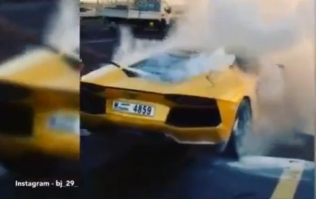 video youtube: lamborghini aventador da 340mila euro prende fuoco