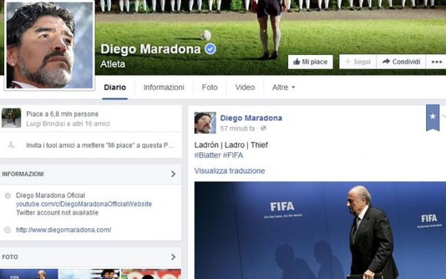 """Maradona: """"Mi davano del pazzo, è Blatter il ladro"""". E lo scrive anche su Facebook"""