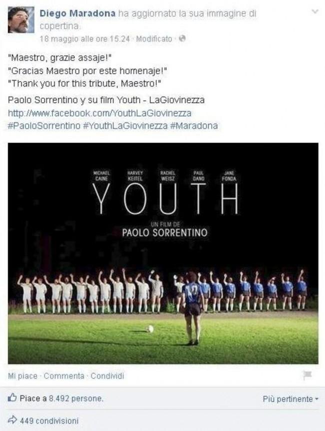 """Maradona ringrazia Sorrentino per omaggio """"obeso"""": """"Maestro, grazie assaje!"""