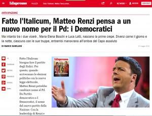 """Pd, Renzi gli cambia nome: """"I Democratici"""". Marco Damilano, l'Espresso"""