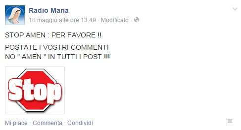 """Radio Maria agli amici di Facebook: """"Basta scrivere AMEN nei vostri commenti"""""""