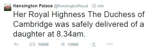 L'annuncio di Kensington Palace
