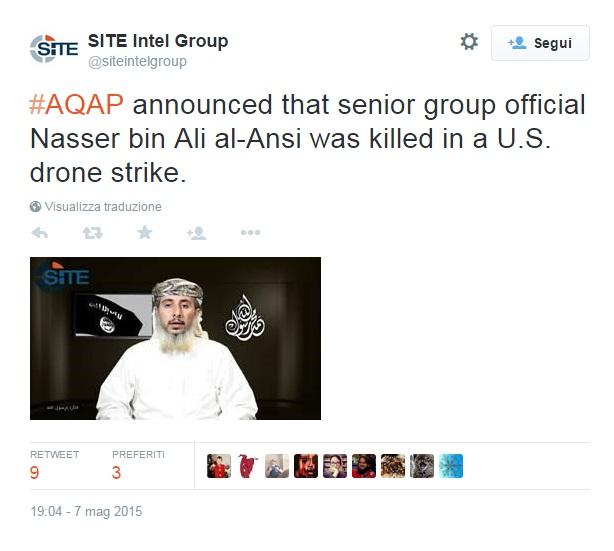 Al Qaeda, leader che rivendicò la strage a Charlie Hebdo ucciso da drone Usa