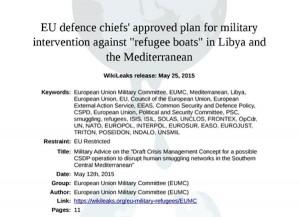 Wikileaks, carte segrete missione Ue Libia: forza militare per fermare migranti