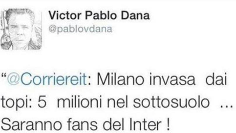 """Victor Pablo Dana: """"Milano invasa dai topi? Saranno tifosi dell'Inter"""""""