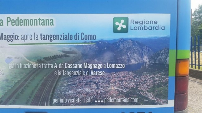 Spot tangenziale Pedemontana di Como con gaffe