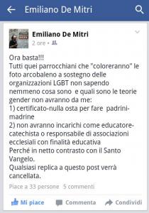 """""""Se colori con arcobaleno foto su Fb non potrai fare..."""",  presa di posizione di Don Di Mitri"""