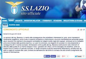 """Lazio risponde a Federbet: """"Baranca diffama ed è mosso da astio"""""""