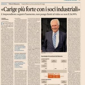 """Vittorio Malacalza: """"Banca Carige più forte grazie ai soci industriali"""""""