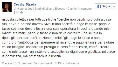 Il post su Facebook di Cecilia Strada