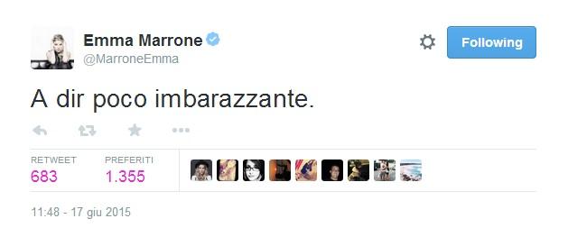 """Emma Marrone, foto bacio con Fabio Borriello. E lei twitta: """"Imbarazzante"""""""