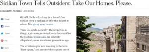Gangi (Sicilia): New York Times celebra le case a un euro. Basta ristrutturarle
