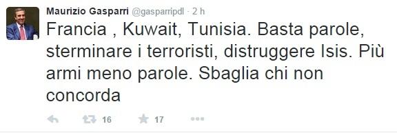 """Gasparri: """"Più armi meno parole: sterminare i terroristi, distruggere Isis"""""""