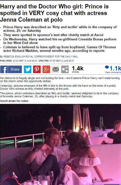 Principe Harry flirta con l'attrice Jenna Coleman: FOTO Daily mail