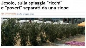 Jesolo, siepe in spiaggia divide ricchi e poveri
