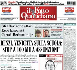 """Marco Travaglio sul Fatto Quotidiano: """"L'antirenzismo"""""""