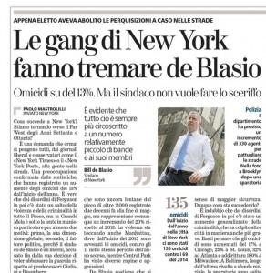 New York, le gang fanno tremare de Blasio