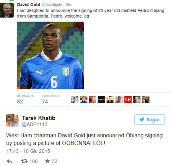 Obiang al West Ham, ma la foto è di Ogbonna: gaffe del presidente David Gold