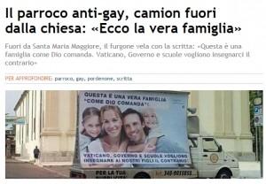 """Parroco anti-gay mette camion fuori da chiesa: """"Ecco la vera famiglia"""""""
