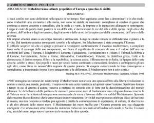 """La traccia: """"Il Mediterraneo e le sfide del XXI secolo""""."""