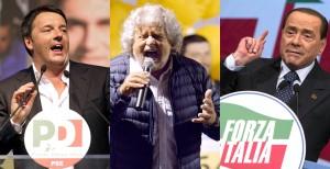Renzi Grillo e Berlusconi