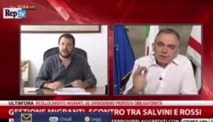 """Rossi a Salvini: """"Razzista etnico"""". Scontro in tv sui migranti"""