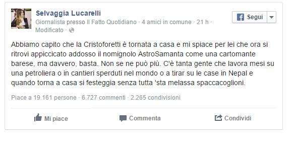 """Selvaggia Lucarelli contro Samantha Cristoforetti: """"Che melassa spaccacoglioni!"""""""