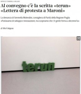 """Lombardia: scritta """"terun"""" al convegno in Regione di imprese del Sud"""