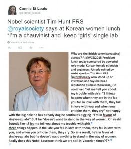 """Nobel medicina Tim Hunt: """"Donne in laboratorio? Se le critichi piangono"""""""