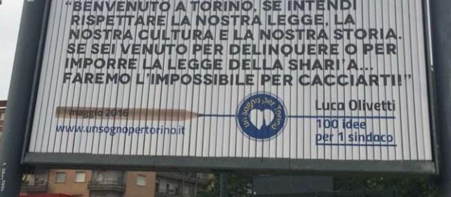 """Torino, manifesto Luca Olivetti: """"Se vuoi imporre la sharia...ti cacciamo"""" FOTO"""