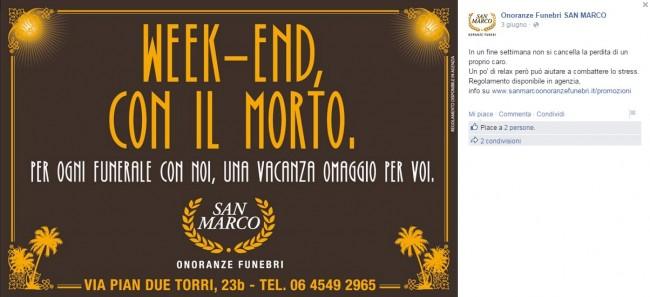 """Pompe funebri promuovono """"Week end con morto"""": funerale con loro? Regalano vacanza"""