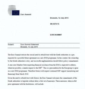 Accordo Grecia 13 luglio: ecco il testo integrale in pdf