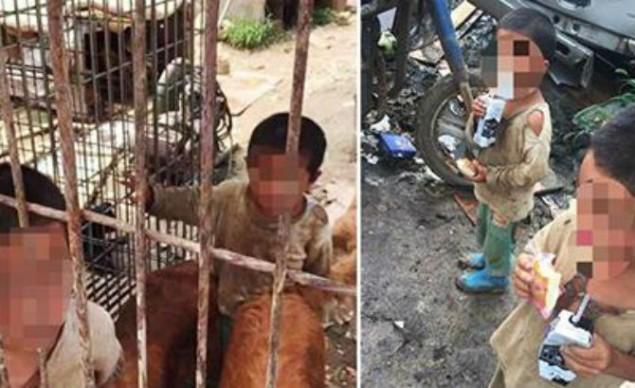 Cina, bambini in gabbia coi cani bevono da pozzanghere. Grazie al nonno...FOTO