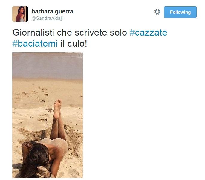"""Barbara Guerra nuda su Twitter: """"Giornalisti baciatemi il c..."""" FOTO"""