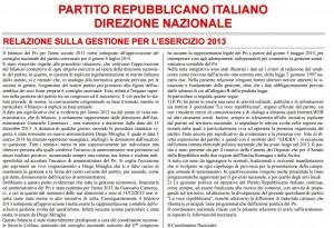 Partito Repubblicano Italiano: bilancio 2013 e spese. SCARICA PDF