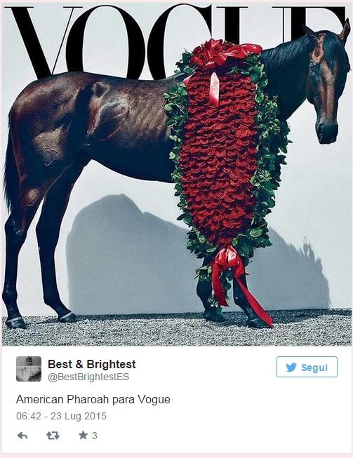 Pharoah su di Vogue di agosto: è la prima volta per un cavallo eroe dell'ippica