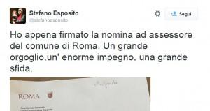 Stefano Esposito, primo tweet da assessore...con strafalcione grammaticale FOTO