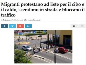 """Este, protesta migranti: cibo buttato e strade occupate. Sindaco: """"Ingrati"""""""