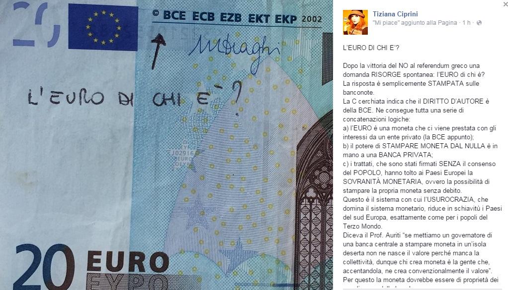 """Tiziana Ciprini (M5s), gaffe su Fb: """"L'Euro di chi è ?"""". Bce, copyright e risate"""