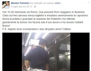 VIDEO Facebook - Stranieri su Frecciarossa con biglietto sbagliato...insultano capotreno