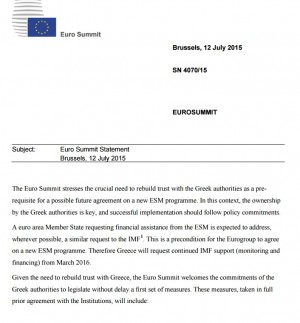 Grecia, bozza accordo a Eurosummit: testo integrale PDF