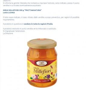 """Eurospin, miele millefiori Frutta&Natura ritirato: """"Possibile inquinamento"""""""