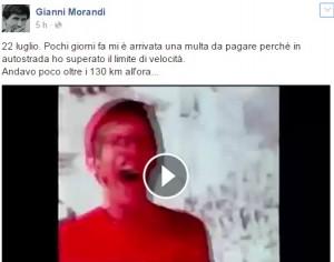 """Gianni Morandi, multa per autovelox. E mette su Facebook VIDEO """"Andavo a cento all'ora"""""""