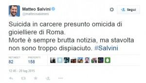 """Matteo Salvini su Twitter: """"Ludovico Caiazza morto? Non sono troppo dispiaciuto"""""""
