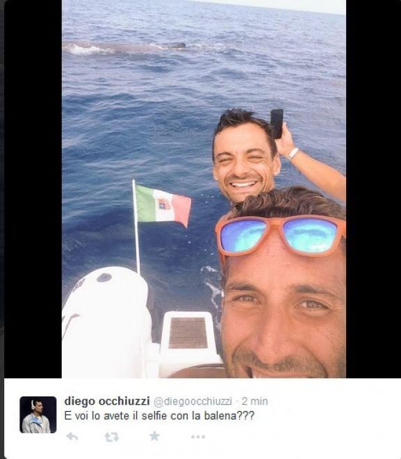 Ischia, il selfie con la balena dei campioni di scherma