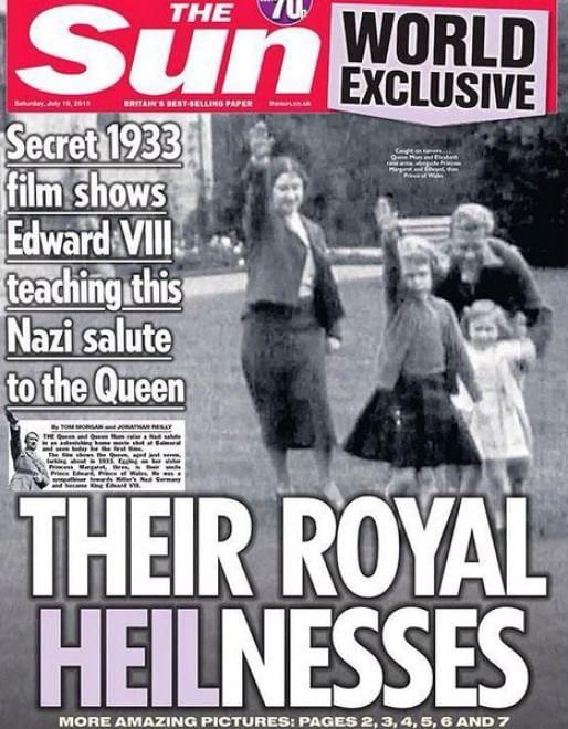regina Elisabetta che da bambina fa il saluto nazista