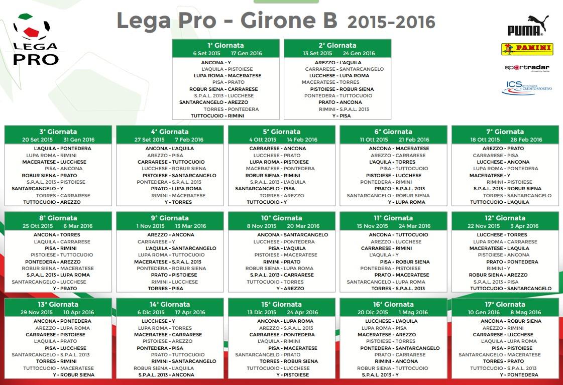 Lega Pro Calendario Girone B.Calendario Girone B Lega Pro 2015 16 Blitz Quotidiano