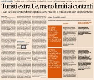 Contante: no limite 1000 euro per i turisti extracomunitari